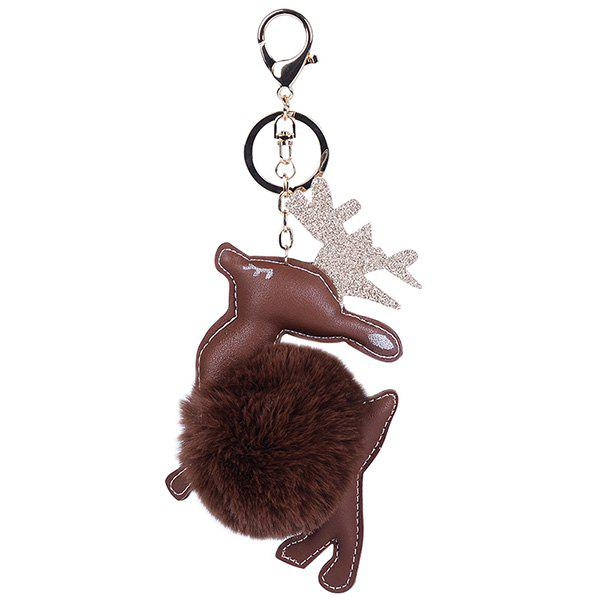 Chic Artificial Leather Christmas Deer Keychain