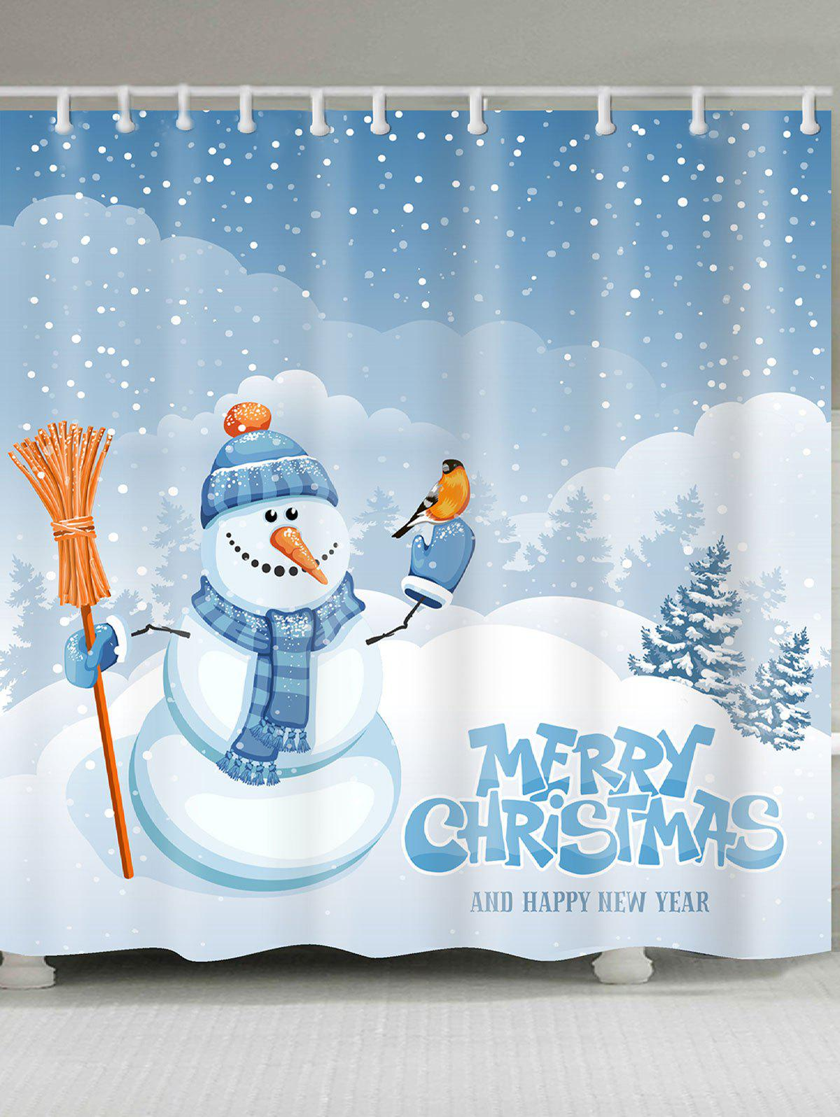 Snowy Christmas Snowman Pattern Shower CurtainHOME<br><br>Size: W59 INCH * L71 INCH; Color: BLUE + WHITE; Products Type: Shower Curtains; Materials: Polyester; Pattern: Snow,Snowman; Style: Festival; Number of Hook Holes: W59 inch * L71 inch:10, W71 inch * L71 inch:12, W71 inch * L79 inch:12; Package Contents: 1 x Shower Curtain 1 x Hooks (Set);