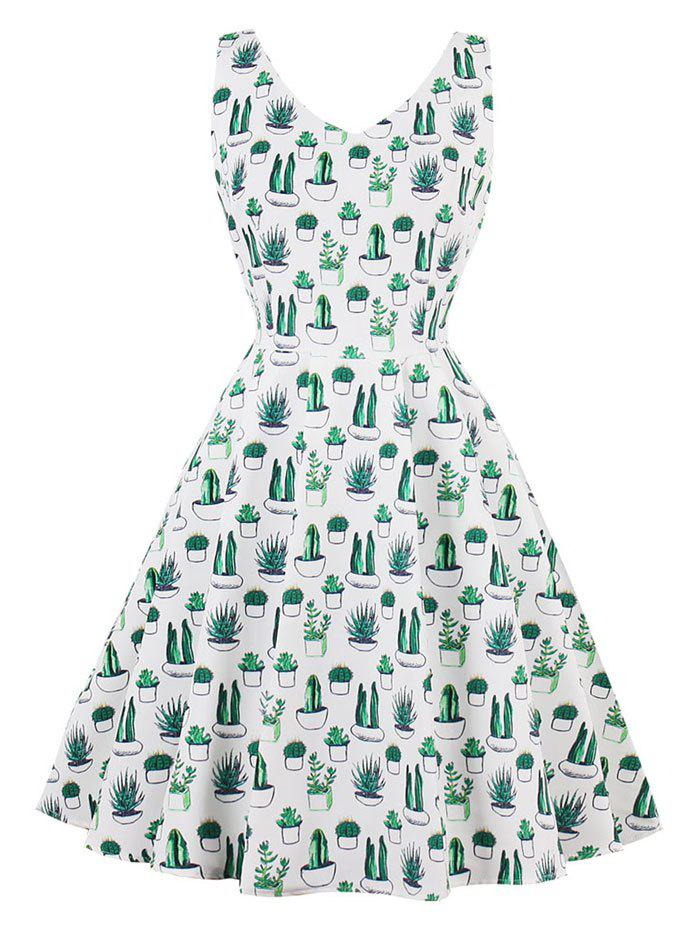 Unique Vintage V Neck Cactus Print Pin Up Skater Dress