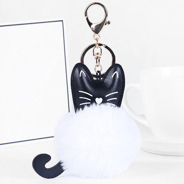 Fashion Cute Faux Leather Fuzzy Ball Kitten Keychain