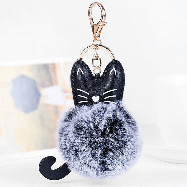 Hot Cute Faux Leather Fuzzy Ball Kitten Keychain