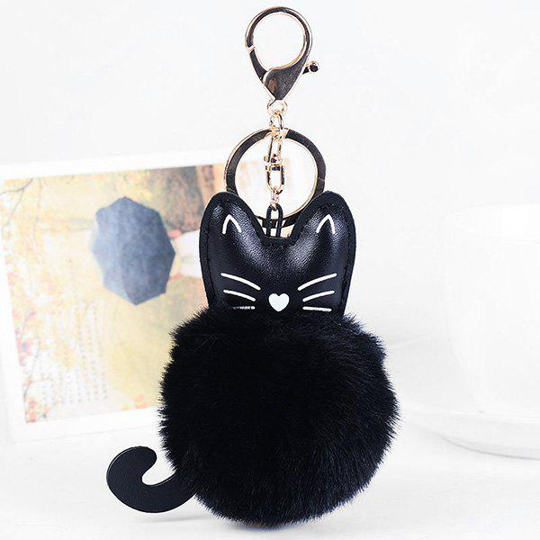 Cute Faux Leather Fuzzy Ball Kitten KeychainJEWELRY<br><br>Color: BLACK; Gender: For Women; Style: Trendy; Shape/Pattern: Ball; Weight: 0.0500kg; Package Contents: 1 x Keychain;