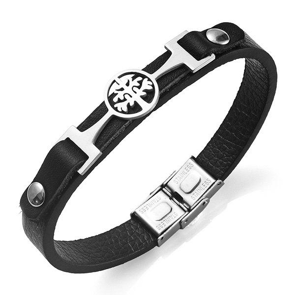 PU Leather Stainless Steel Tree of Life BraceletJEWELRY<br><br>Color: SILVER; Gender: For Men; Chain Type: Leather Chain; Style: Trendy; Shape/Pattern: Plant; Length: 21.3CM; Weight: 0.0130kg; Package Contents: 1 x Bracelet;