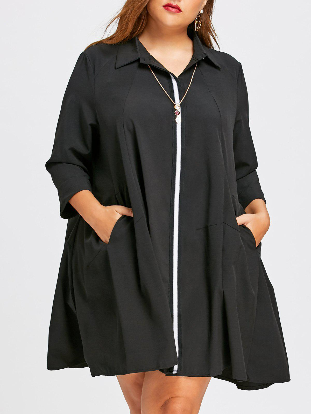 Long Plus Size Color Block BlouseWOMEN<br><br>Size: 5XL; Color: BLACK; Material: Polyester,Spandex; Shirt Length: Long; Sleeve Length: Three Quarter; Collar: Shirt Collar; Style: Fashion; Season: Fall,Spring; Pattern Type: Others; Weight: 0.4400kg; Package Contents: 1 x Blouse;