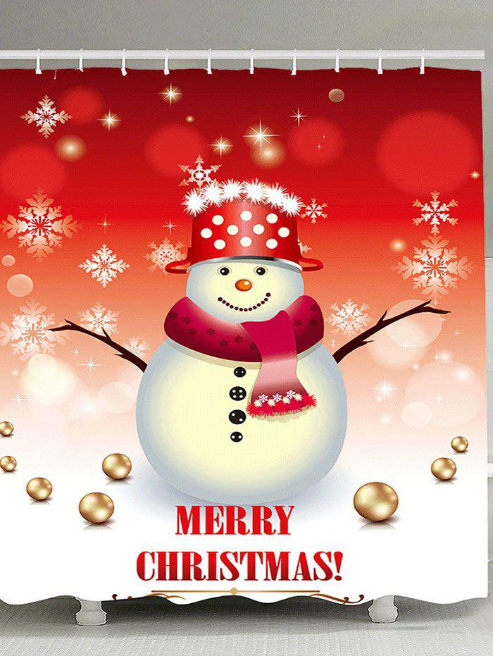 Christmas Snowman Patterned Bath CurtainHOME<br><br>Size: W59 INCH * L71 INCH; Color: RED AND WHITE; Products Type: Shower Curtains; Materials: Polyester; Pattern: Ball,Snowflake,Snowman; Style: Festival; Number of Hook Holes: W59 inch * L71 inch:10, W71 inch * L71 inch:12, W71 inch * L79 inch:12; Package Contents: 1 x Shower Curtain 1 x Hooks (Set);