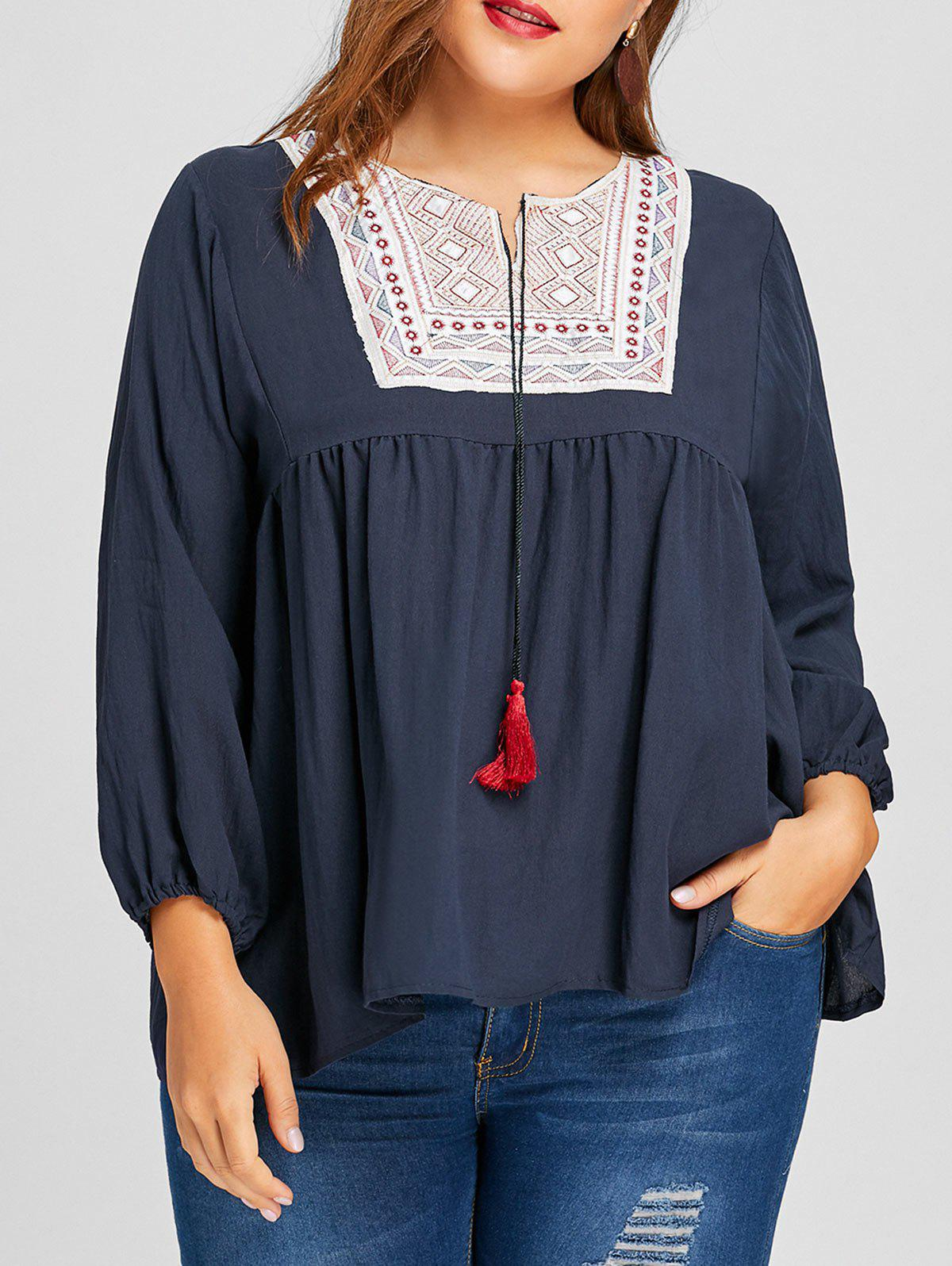 Plus Size Tassel Ethnic Embroidered BlouseWOMEN<br><br>Size: 3XL; Color: PURPLISH BLUE; Material: Polyester; Shirt Length: Long; Sleeve Length: Full; Collar: Keyhole Neck; Style: Casual; Season: Fall,Spring; Embellishment: Embroidery,Tassel; Pattern Type: Geometric; Weight: 0.3100kg; Package Contents: 1 x Blouse;