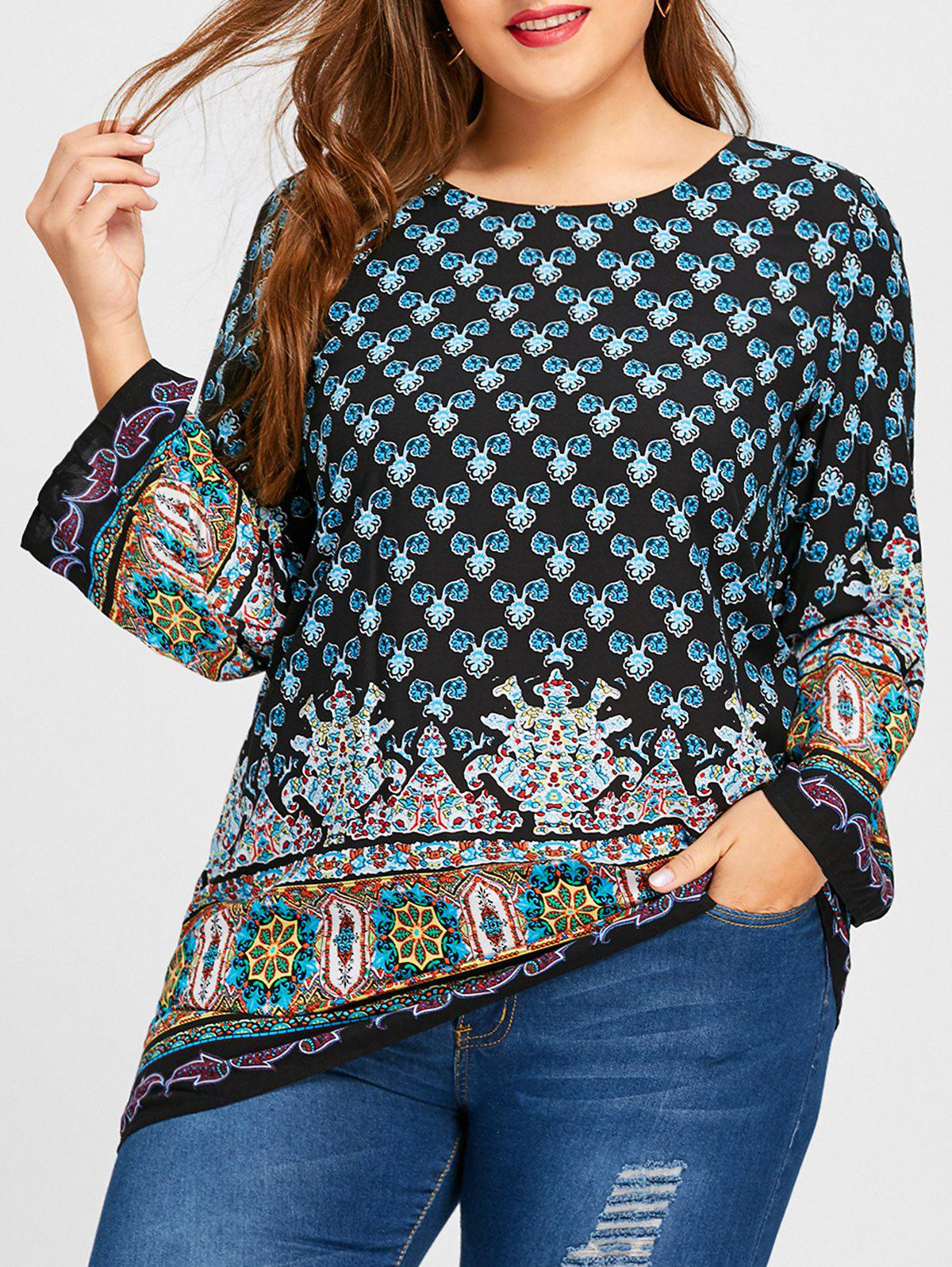 Ethnic Floral Print Bell Sleeve Plus Size BlouseWOMEN<br><br>Size: 5XL; Color: BLACK; Material: Polyester; Shirt Length: Regular; Sleeve Length: Full; Collar: Round Neck; Style: Casual; Season: Fall,Spring; Sleeve Type: Flare Sleeve; Pattern Type: Floral; Weight: 0.2000kg; Package Contents: 1 x Blouse;