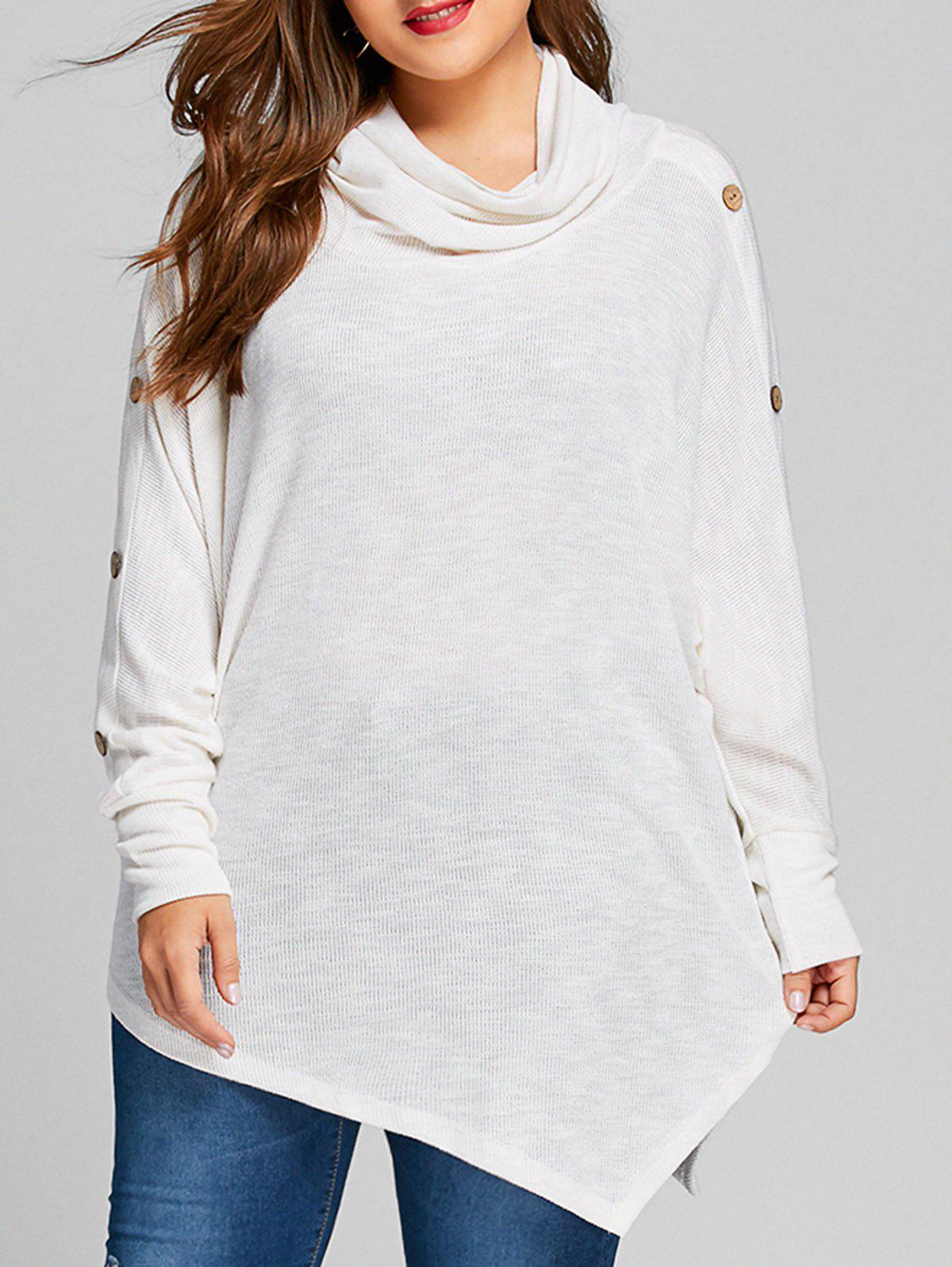Plus Size Asymmetrical Batwing Sleeve KnitwearWOMEN<br><br>Size: 4XL; Color: WHITE; Type: Pullovers; Material: Acrylic; Sleeve Length: Full; Collar: Cowl Neck; Style: Casual; Season: Fall,Spring,Winter; Pattern Type: Solid; Weight: 0.4550kg; Package Contents: 1 x Knitwear;
