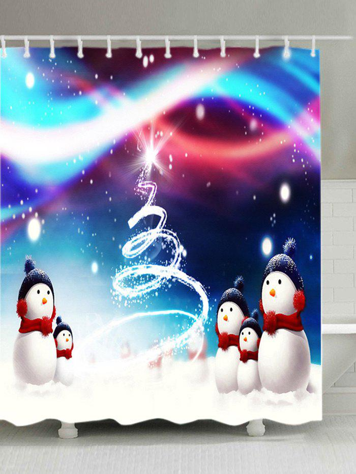 Christmas Snowmen Snowfield Print Waterproof Bathroom Shower CurtainHOME<br><br>Size: W71 INCH * L79 INCH; Color: COLORMIX; Products Type: Shower Curtains; Materials: Polyester; Pattern: Snowman; Style: Festival; Number of Hook Holes: W59 inch*L71 inch: 10; W71 inch*L71 inch: 12; W71 inch*L79 inch: 12; Package Contents: 1 x Shower Curtain 1 x Hooks (Set);