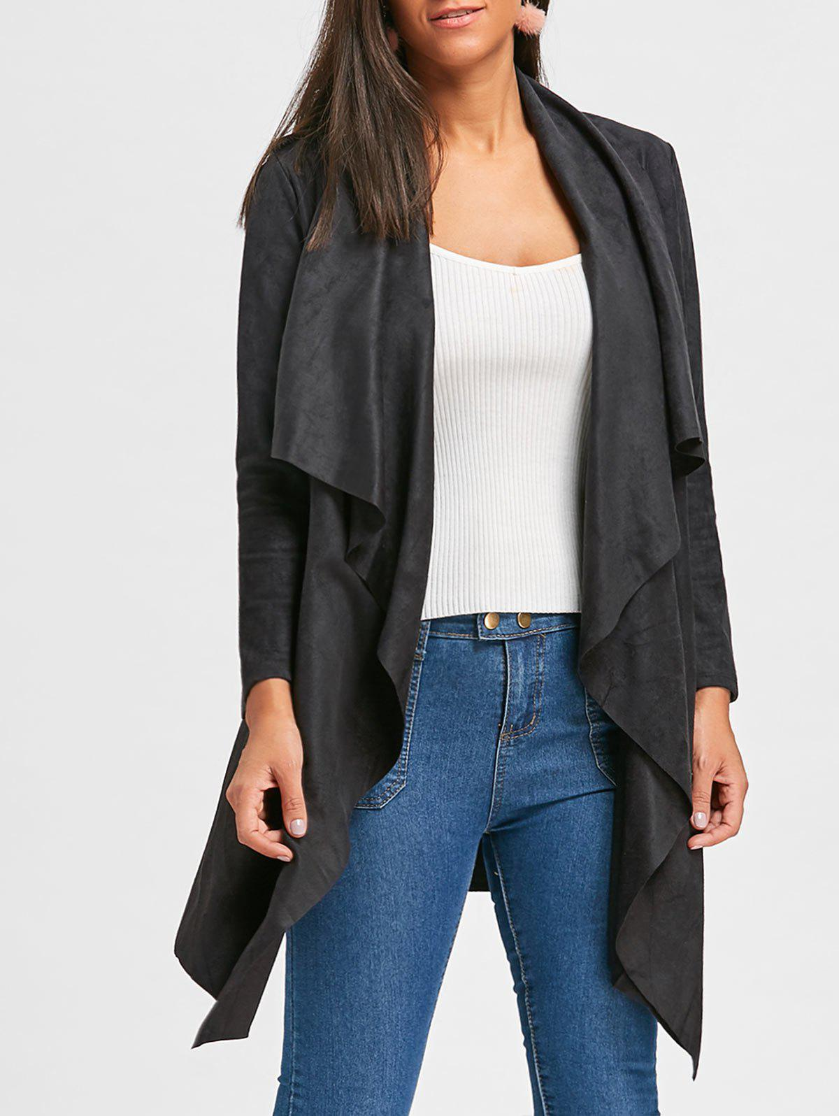 Faux Suede Open Front Draped CardiganWOMEN<br><br>Size: L; Color: BLACK; Type: Cardigans; Material: Polyester,Spandex; Sleeve Length: Full; Collar: Shawl Collar; Style: Fashion; Pattern Type: Solid; Season: Fall,Spring; Weight: 0.5300kg; Package Contents: 1 x Cardigan;