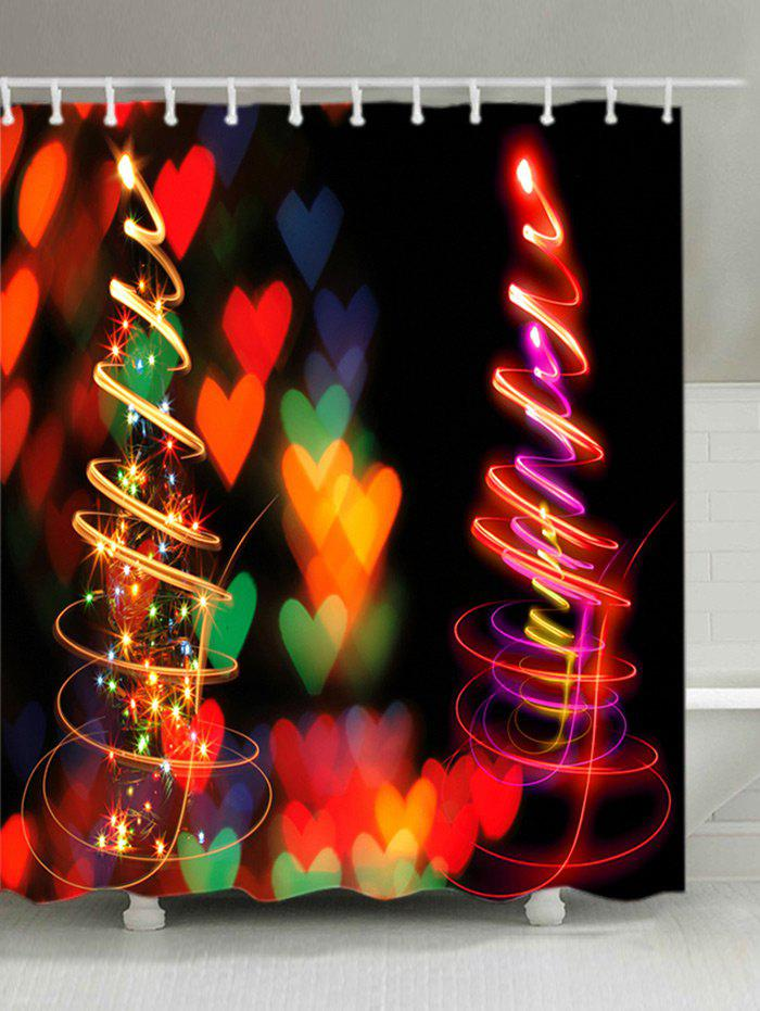 Christmas Tree Hearts Print Waterproof Bathroom Shower CurtainHOME<br><br>Size: W71 INCH * L71 INCH; Color: COLORMIX; Products Type: Shower Curtains; Materials: Polyester; Pattern: Heart; Style: Festival; Number of Hook Holes: W59 inch*L71 inch: 10; W71 inch*L71 inch: 12; W71 inch*L79 inch: 12; Package Contents: 1 x Shower Curtain 1 x Hooks (Set);