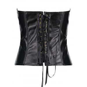 Zippers PU Leather Lace Up Corset -