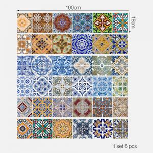 Bohemian Ceramic Tiles Patterned Stair Stickers