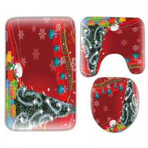 3Pcs Flannel Christmas Printed Bath Toilet Mats Set -