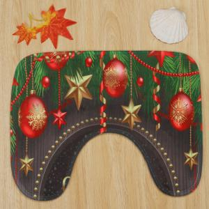 Merry Christmas Baubles Pattern 3 Pcs Bath Mat Toilet Mat -