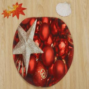 Christmas Balls Star Pattern 3 Pcs Bath Mat Toilet Mat -