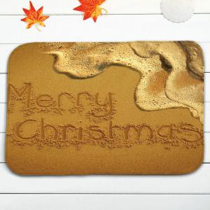 Beach Christmas Letter Print Flannel Bath Toilet Rugs Set -