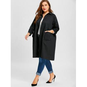 Long Plus Size Button Up Coat -