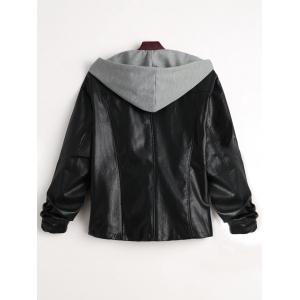Two Tone Plus Size Faux Leather Jacket -