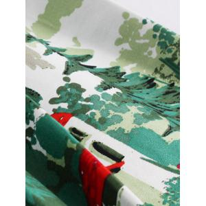 Christmas Vintage Forest Print Ruched Pin Up Dress -