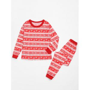 Fair Isle Printed Matching  Family Christmas Pajamas Set -