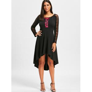 Lace Up Dip Hem Dress -