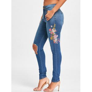 Ripped Floral Embroidery Denim Jeans -