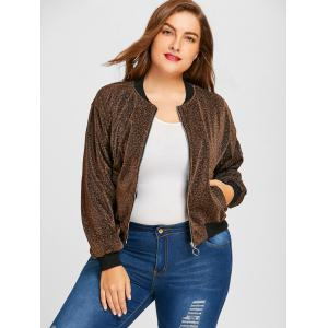 Plus Size Sparkly Zipper Drop Shoulder Jacket -