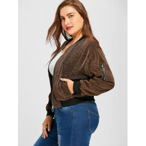 Plus Size Lurex Zipper Drop Shoulder Jacket -