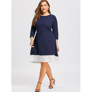 Contrast Plus Size  High Low Long Sleeve Dress -