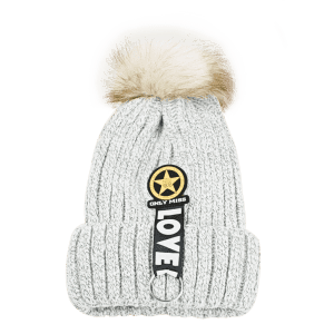 Letter and Star Decorated Flanging Knitted Pom Beanie -