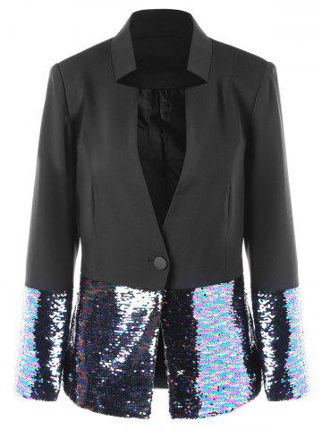 New Sequined Trim One Button Blazer