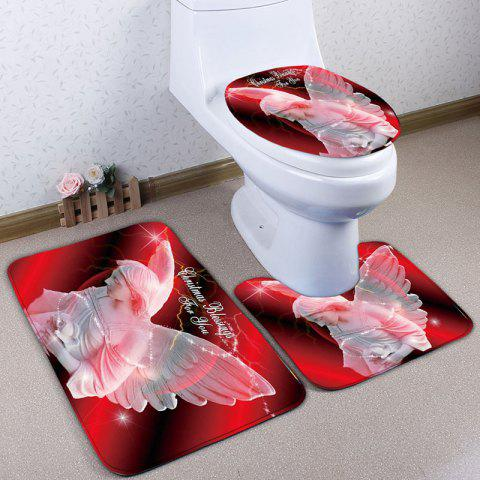 Discount Angel Statue Print Flannel 3Pcs Christmas Bath Toilet Rugs Set
