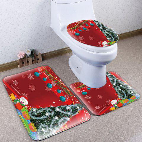 Store 3Pcs Flannel Christmas Printed Bath Toilet Mats Set