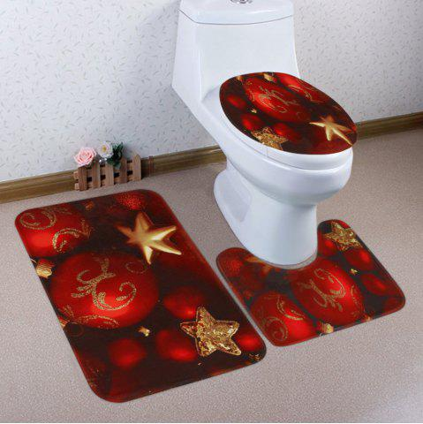 Christmas Baubles Star Pattern 3 Pcs Bath Mat Toilet Mat - RED