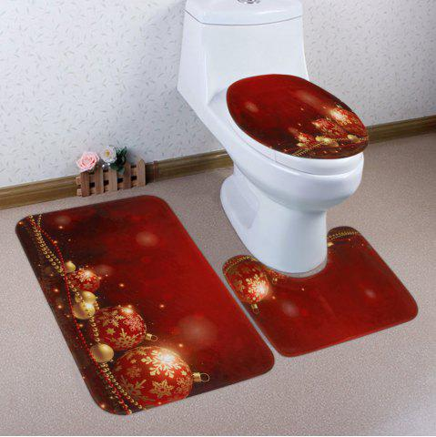 Hot Christmas Baubles Chain Pattern 3 Pcs Bath Mat Toilet Mat
