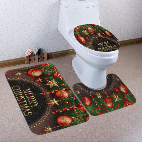 Sale Merry Christmas Baubles Pattern 3 Pcs Bath Mat Toilet Mat