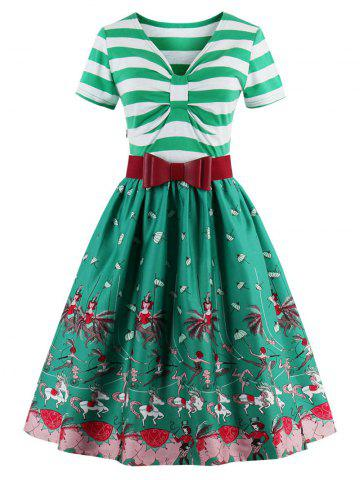 Trendy Vintage Bowknot Striped Printed Pin Up Christmas Dress