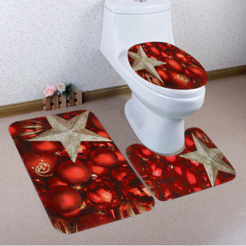 Unique Christmas Balls Star Pattern 3 Pcs Bath Mat Toilet Mat