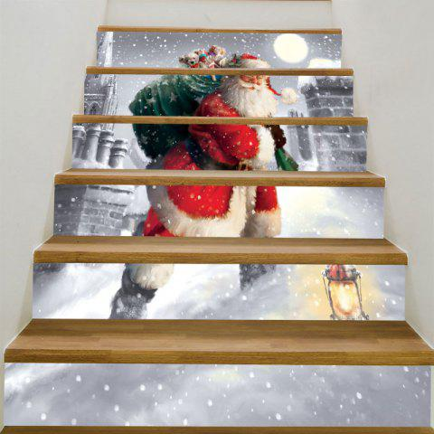 Santa Claus Walking In the Snow Print Stair Stickers
