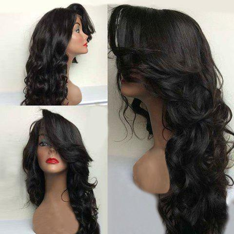 Sale Long Deep Side Parting Fluffy Wavy Synthetic Lace Front Wig