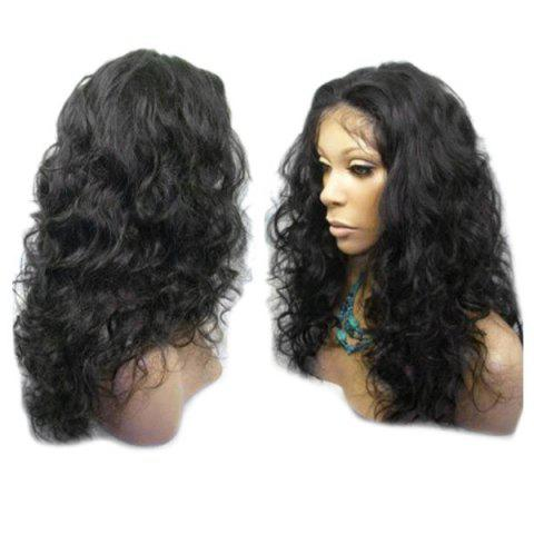 Fashion Long Center Parting Fluffy Wavy Lace Front Synthetic Wig
