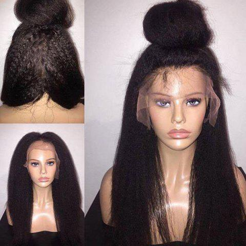 Outfit Long Free Part Fluffy Yaki Straight Lace Front Synthetic Wig