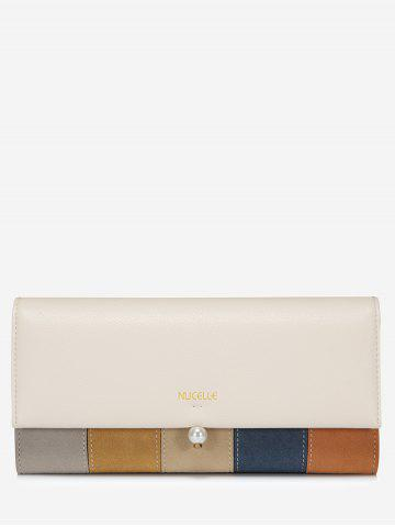 Store Striped Color Block Faux Pearl Wallet