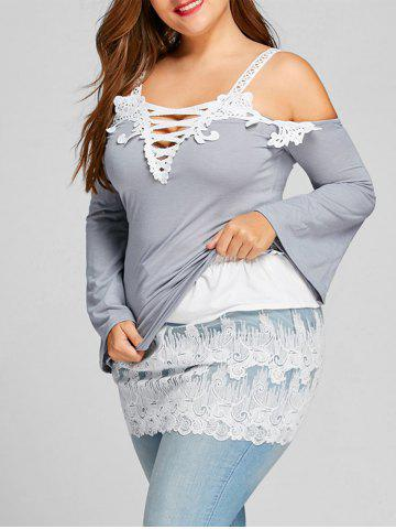 Sale Plus Size Sheer Embroidered Lace Extender Skirt