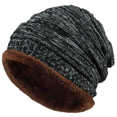 Fancy Outdoor Colormix Pattern Velvet Knitted Beanie
