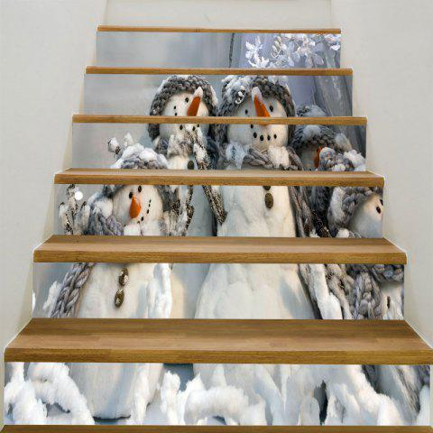 Decorative Christmas Snowman Family Printed Stair Stickers