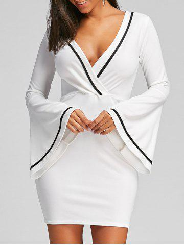 Low Cut Flare Sleeve Mini Bodycon Dress