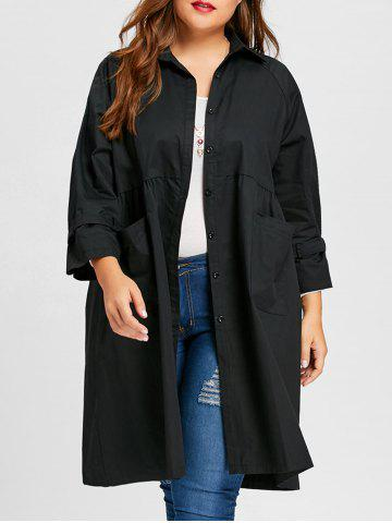 Cheap Long Plus Size Button Up Coat