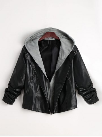 Latest Two Tone Plus Size Faux Leather Jacket